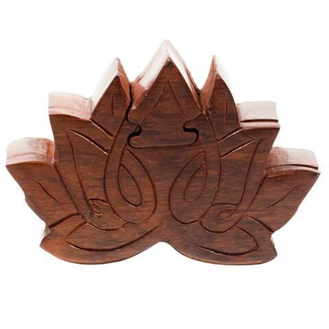 Handmade Lotus Puzzle Box (India) - Brown