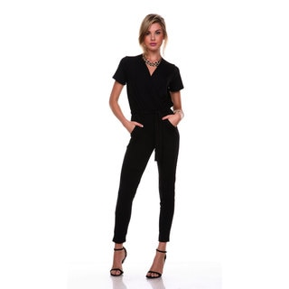 Stanzino Women's V-neck Short Sleeve Elastic Waist Jumpsuit