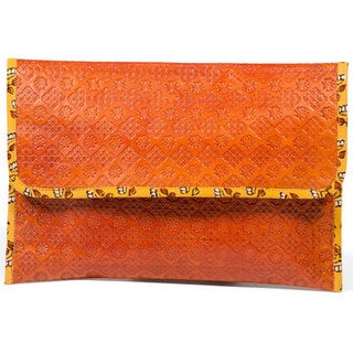 Handmade Embossed Leather Clutch (India)