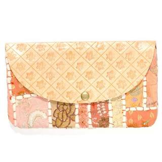 Handmade Peach Color Splash Clutch (India)