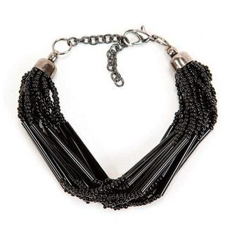 Black Striped Strand Bead Bracelet (India)