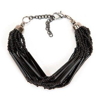 Handmade Black Striped Strand Bead Bracelet (India)