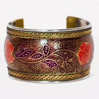 Handmade Poppy Red Thick Bollywood Cuff (India)