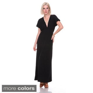Stanzino Women's V-neck Short Sleeve Elastic Waist Maxi Dress