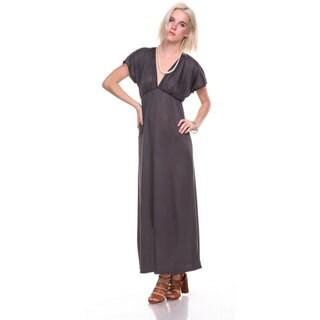 Stanzino Women's V-neck Short Sleeve Elastic Waist Maxi Dress