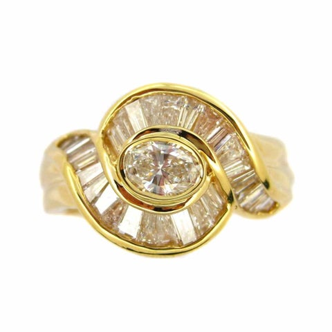 Kabella 18k Yellow Gold 1 1/3ct TDW Oval Diamond Vintage Ring (G-H, SI1-SI2)