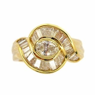 Kabella 18k Yellow Gold 1 1/3ct TDW Oval Diamond Vintage Ring (G-H, SI1-SI2)