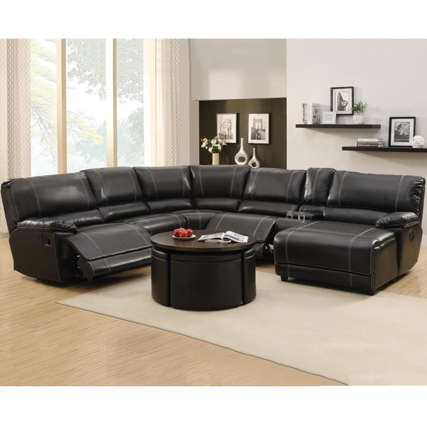 Flynn black bonded leather reclining sectional sofa with for Black leather chaise sofa