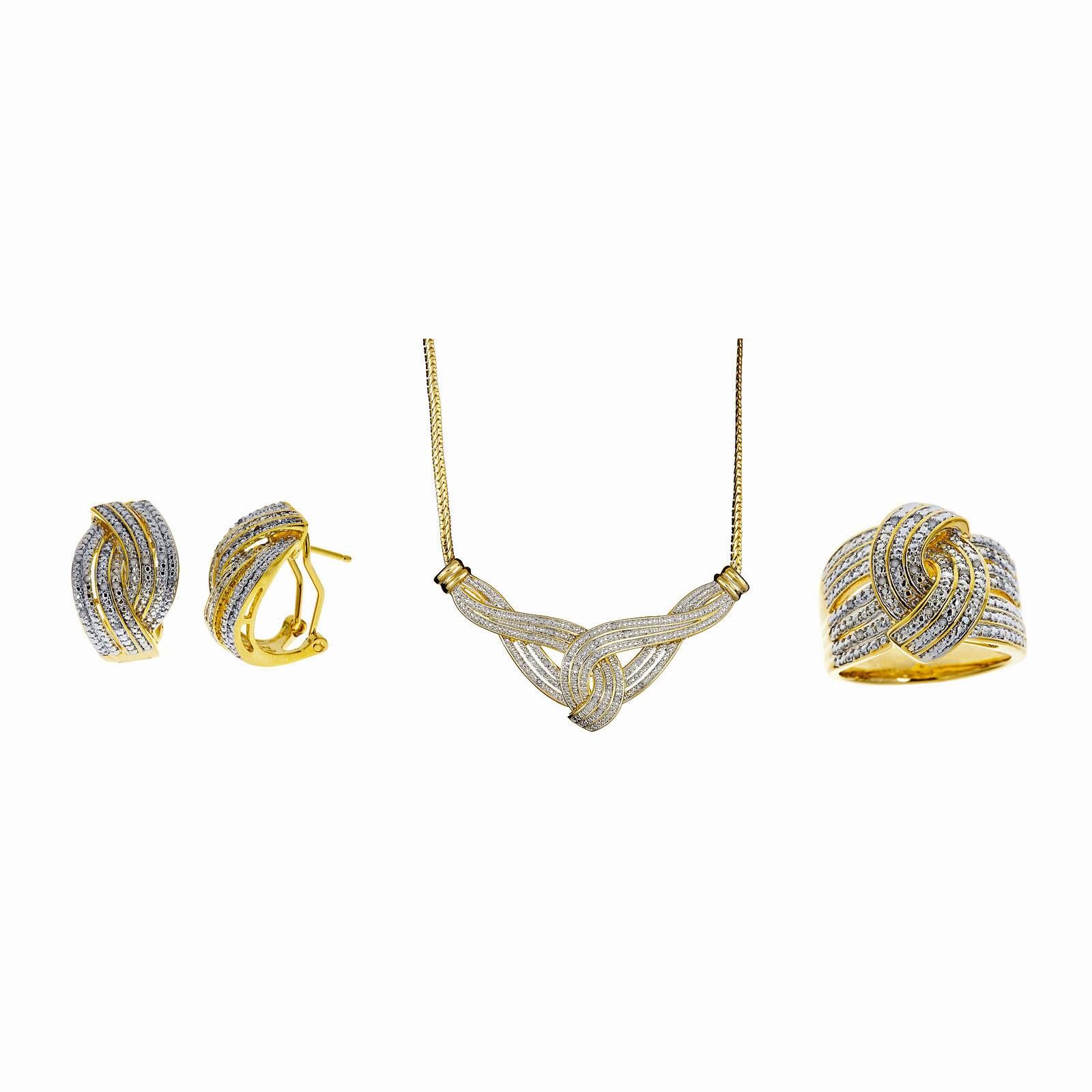 Divina 14k Gold Overlay 1/2ct TDW Diamond 3-piece Jewelry...