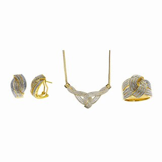 Divina 14k Gold Overlay 1/2ct TDW Diamond 3-piece Jewelry Set (I-J, I2-I3)