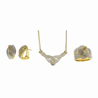 Divina 14k Gold Overlay 1/2ct TDW Diamond 3-piece Jewelry Set