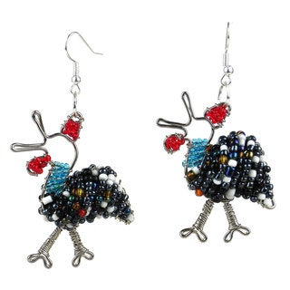 Handmade Beaded Guinea Fowl Earrings (South Africa)