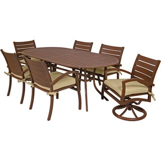 MIYU Furniture Newport Collection 7-piece Dining Set with Two Motion Chairs
