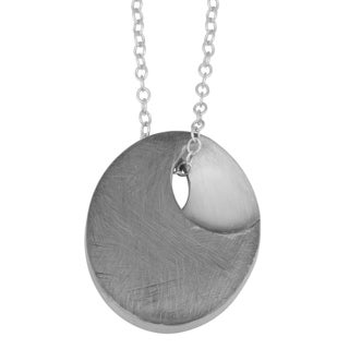 Fremada Ruthenium Plated Sterling Silver Oval Pendant on Cable Chain Necklace (18 inches)