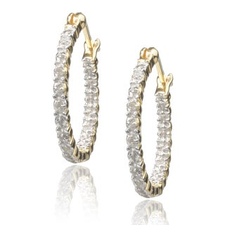 Journee Collection Sterling Cubic Zirconia Hoop Earrings
