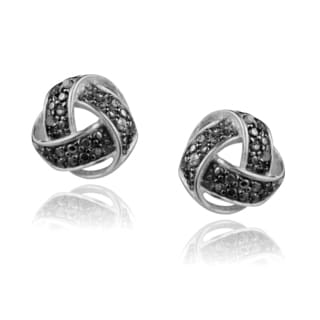 Journee Collection Sterling Silver Diamond Accent Weave Earrings