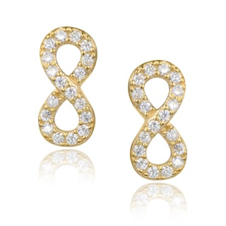 Journee Collection Sterling Silver Cubic Zirconia Accented Infinity Stud Earring