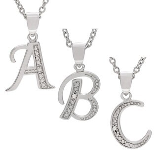 Journee Collection Sterling Silver Diamond Accent Letter Pendant