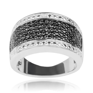 Journee Collection Sterling Silver Black White Diamond Accent Band
