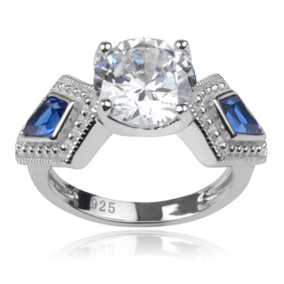 Journee Collection Sterling Silver White and Blue Cubic Zirconia 3-stone Ring