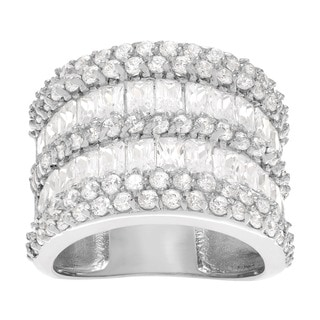 Journee Collection Sterling Silver Cubic Zirconia Wide Ring