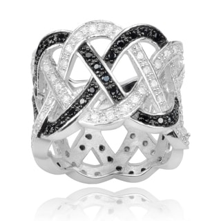 Journee Collection Sterling Silver Black and White Cubic Zirconia 16mm Woven Band