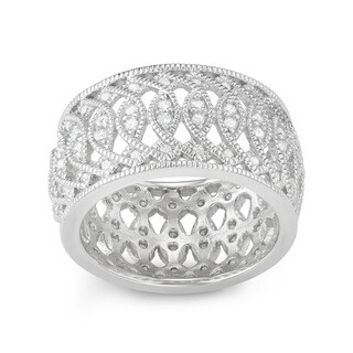 Sterling Silver Cubic Zirconia Wide Band Ring