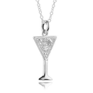 Journee Collection Sterling Silver Diamond Accent Martini Glass Pendant