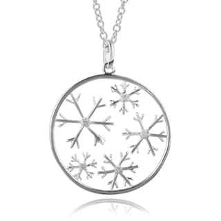 Journee Collection Sterling Silver Diamond Accent Snowflake Pendant