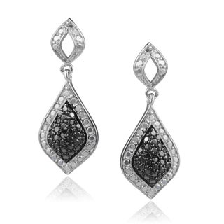 Journee Collection Sterling Silver Black Diamond Dangle Earrings