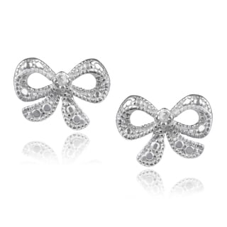 Journee Collection Sterling Silver Diamond Accent Bow Earrings