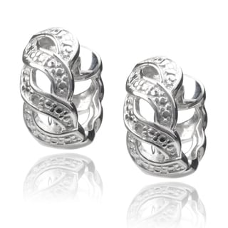Journee Collection Sterling Silver Diamond Accent Braided Saddleback Hoop Earrings