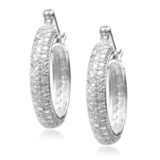 Journee Collection Sterling Silver Diamond Accent Hoop Earrings