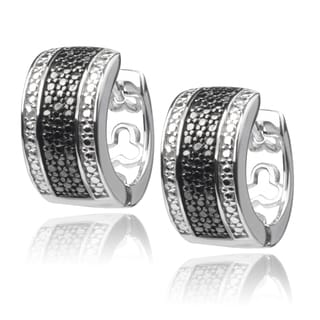 Journee Collection Sterling Silver Black Diamond Accent Huggie Hoop Earrings