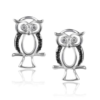 Journee Collection Sterling Silver Black Diamond Accent Owl Earrings