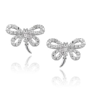 Journee Collection Sterling Silver Diamond Accent Dragonfly Earrings