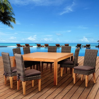 Amazonia Teak Sinclair 9-piece Wicker/ Teak Square Patio Dining Set with Brown Cushions