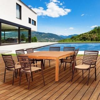 Amazonia Teak Clemson 9-piece Cast Aluminum/ Teak Square Patio Dining Set with Tan Cushions