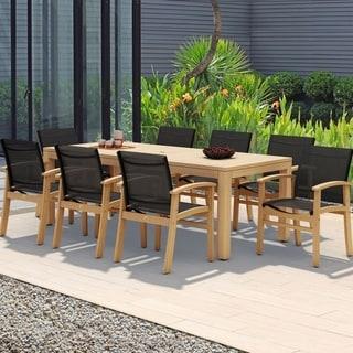 Amazonia Teak Luna Black Textile and Teak 9-piece Patio Dining Set
