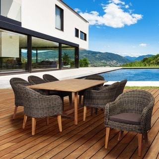 Amazonia Teak Sumay 9-piece Wicker/ Teak Extendable Rectangular Patio Dining Set with Brown Cushions