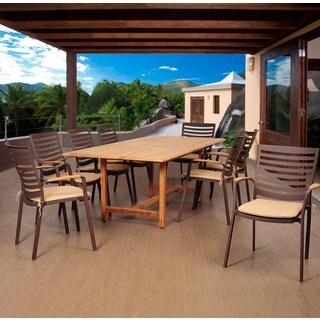 Amazonia Teak Clemson 9-piece Cast Aluminum/ Teak Extendable Rectangular Patio Dining Set with Tan Cushions