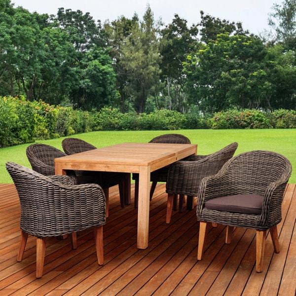 amazonia teak sumay 7 piece wicker teak rectangular patio dining set