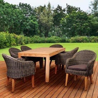 Amazonia Teak Sumay 7-piece Wicker/ Teak Rectangular Patio Dining Set with Brown Cushions