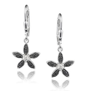 Journee Collection Sterling Silver Diamond Accent Flower Dangle Earrings