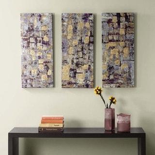 Madison Park Gilded Violet Gel Coat Printed Canvas 3-piece Set