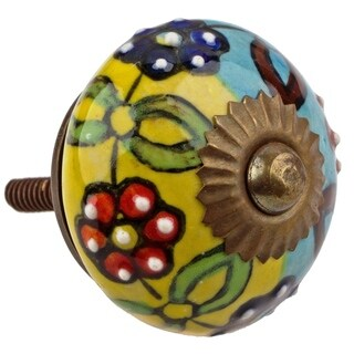 Gliderite hand painted 1 5 inch ceramic round cabinet for Painted ceramic cabinet knobs
