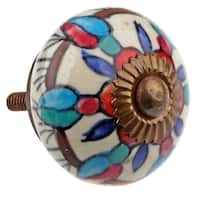 GlideRite Hand Painted 1.5-inch Ceramic Round Cabinet Furniture Knob (Pack of 10 or 25)