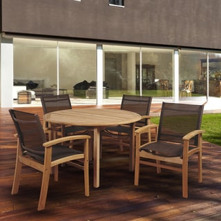 Amazonia Teak Luna 5-piece Round Patio Dining Set