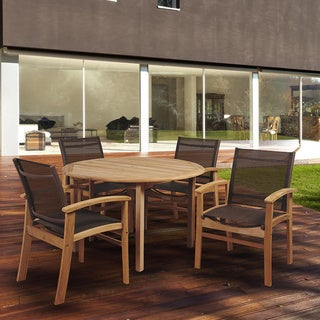 Amazonia Teak Luna 5-piece Teak Round Patio Dining Set with Brown Textile Sling
