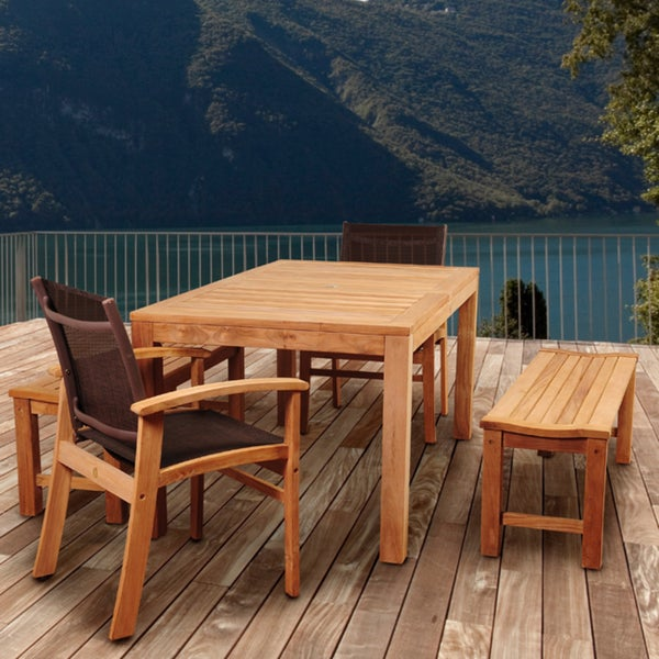 shop amazonia teak trento 5 piece teak rectangular patio dining set with brown textile sling. Black Bedroom Furniture Sets. Home Design Ideas
